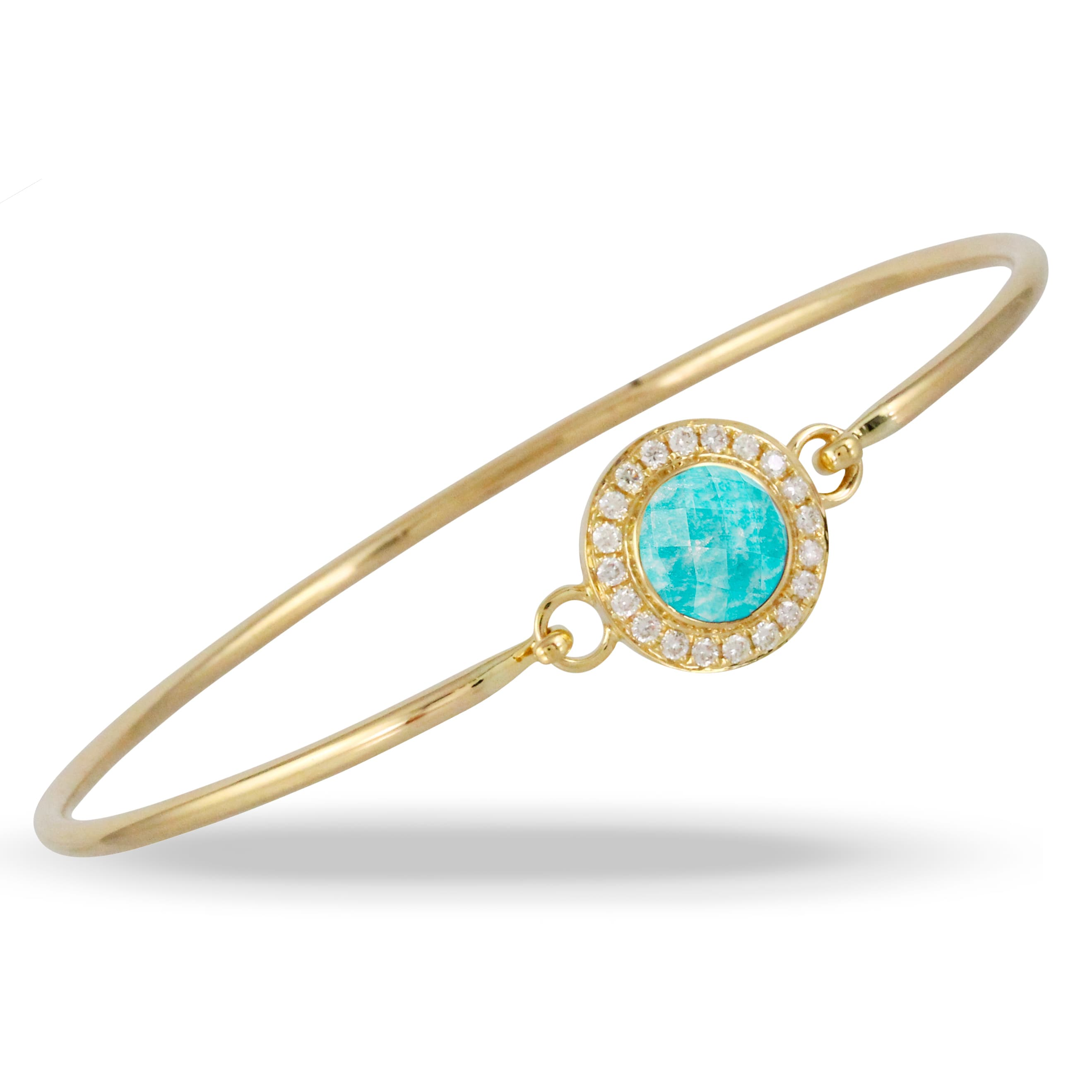 18K YELLOW GOLD DIAMOND BANGLE WITH CLEAR QUARTZ OVER AMAZONITE