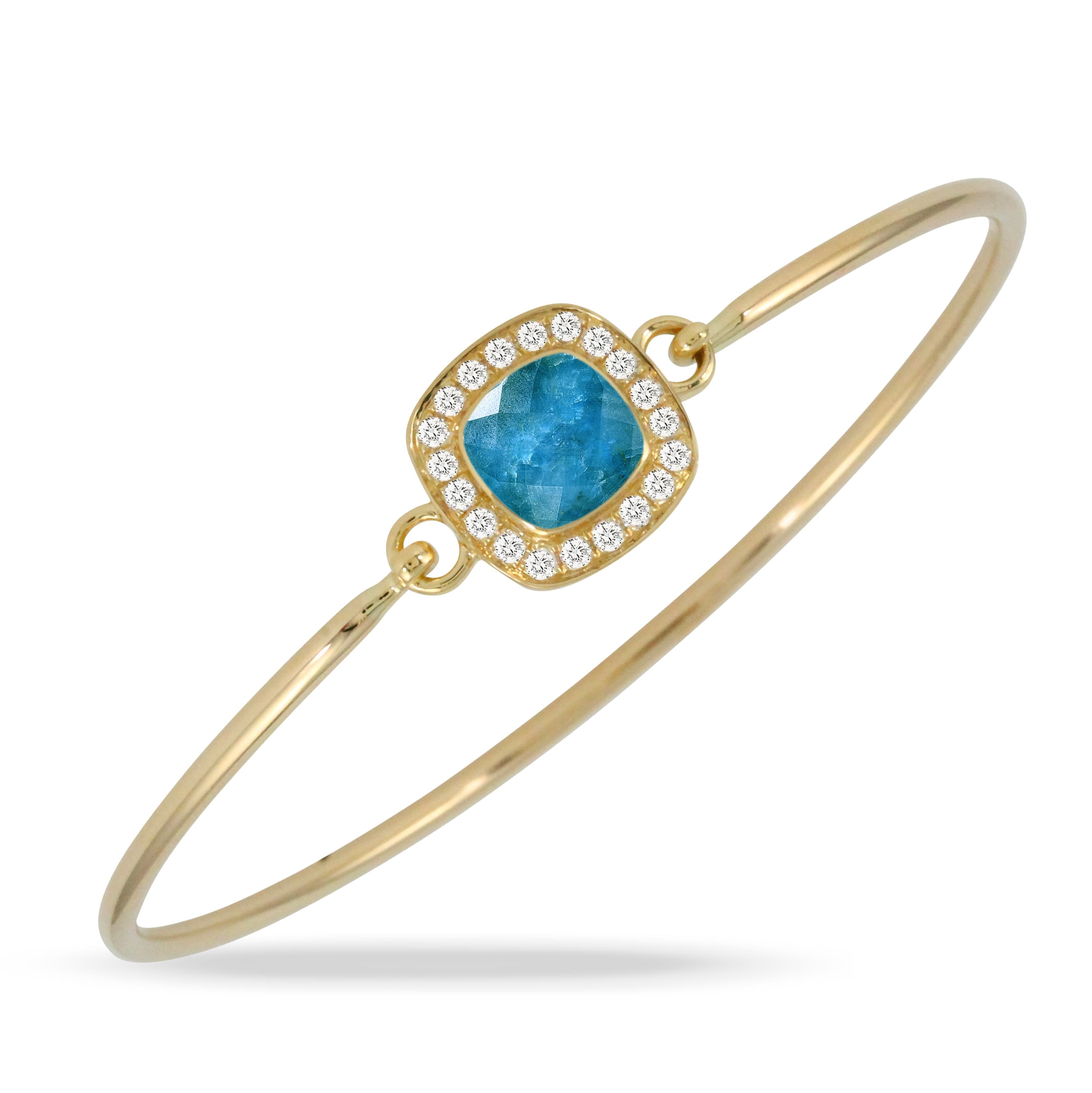 18K YELLOW GOLD DIAMOND BANGLE WITH CLEAR QUARTZ OVER APATITE