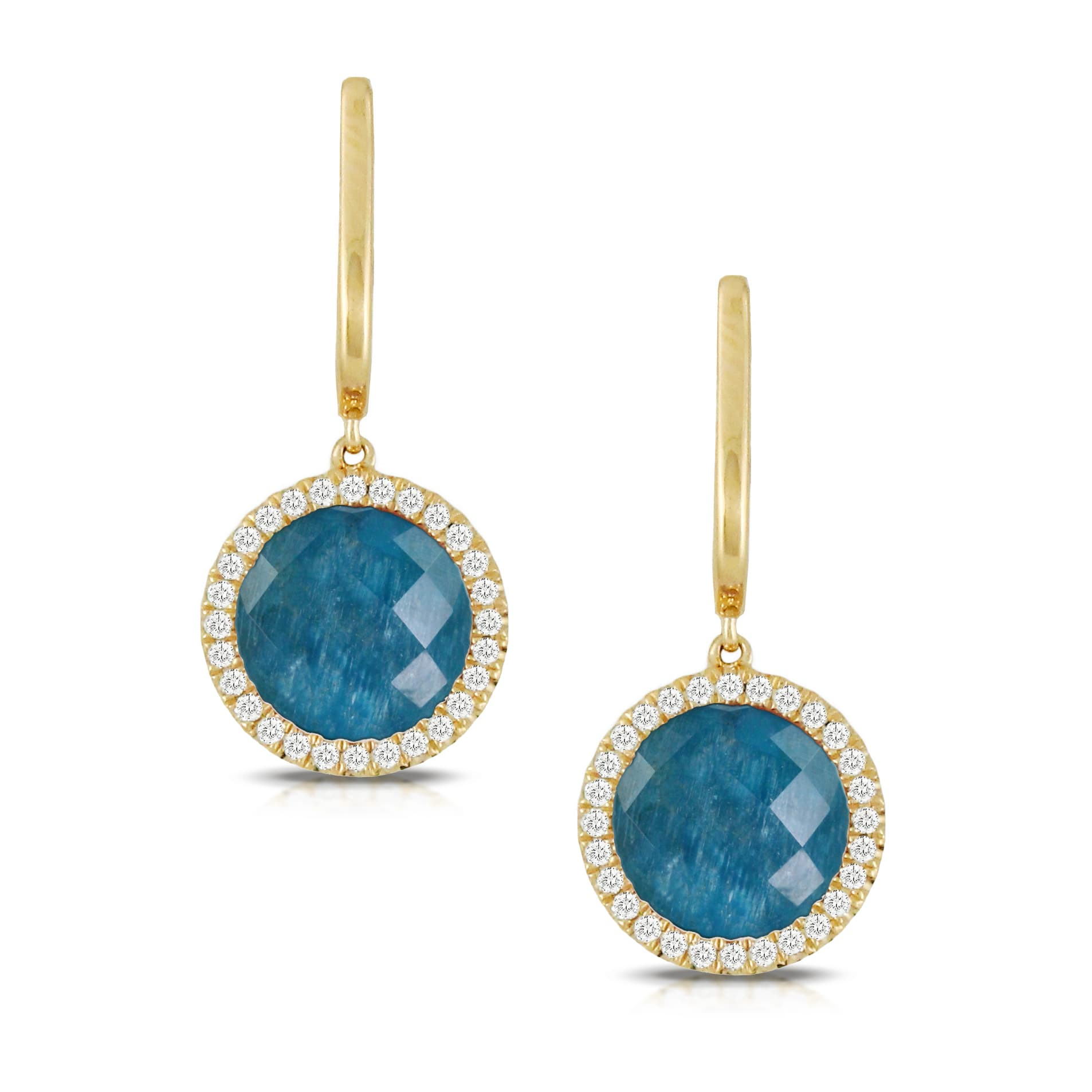18K YELLOW GOLD DIAMOND EARRING WITH CLEAR QUARTZ OVER APATITE