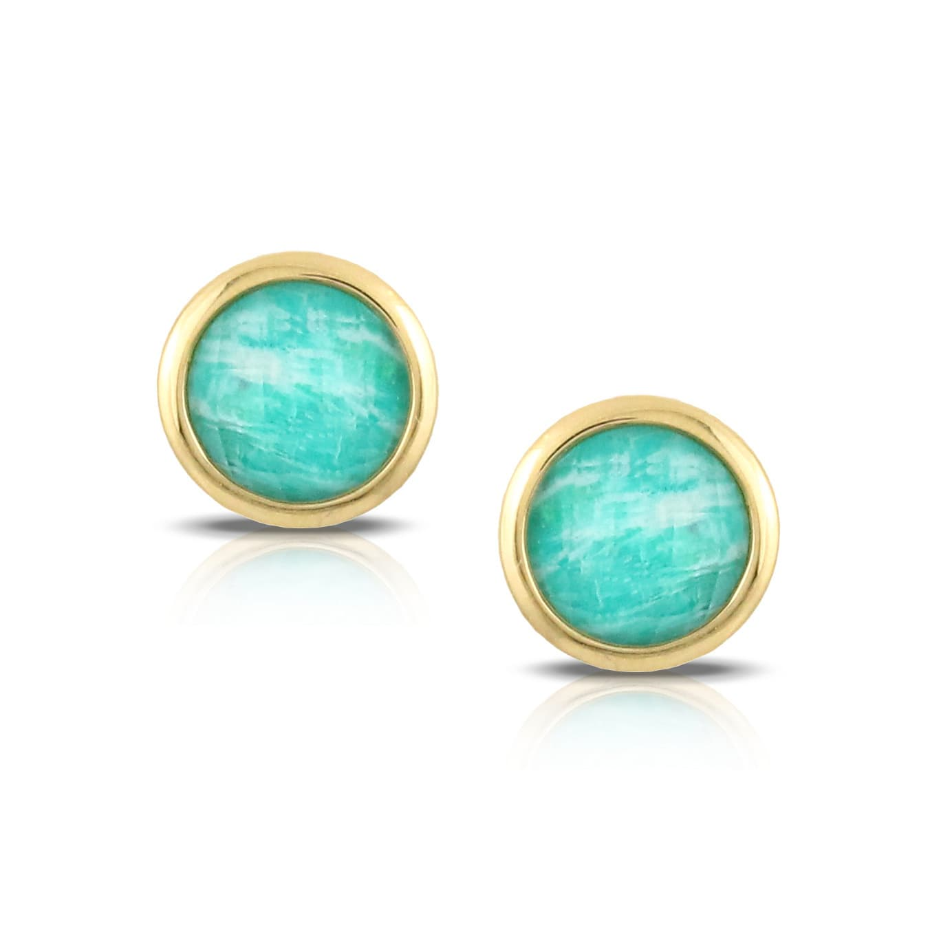 18K YELLOW GOLD EARRING WITH WHITE TOPAZ OVER AMAZONITE