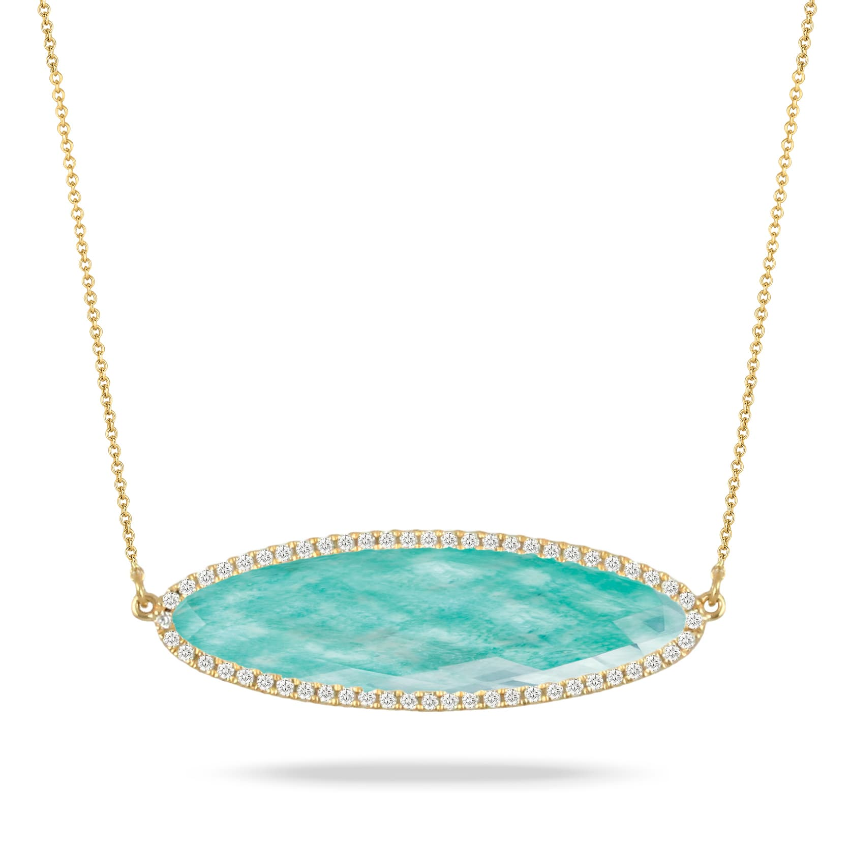 18K YELLOW GOLD DIAMOND NECKLACE WITH CLEAR QUARTZ OVER AMAZONITE