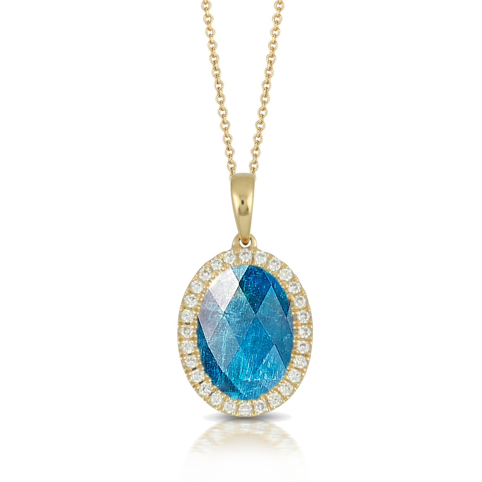 18K YELLOW GOLD DIAMOND PENDANT WITH CLEAR QUARTZ OVER APATITE