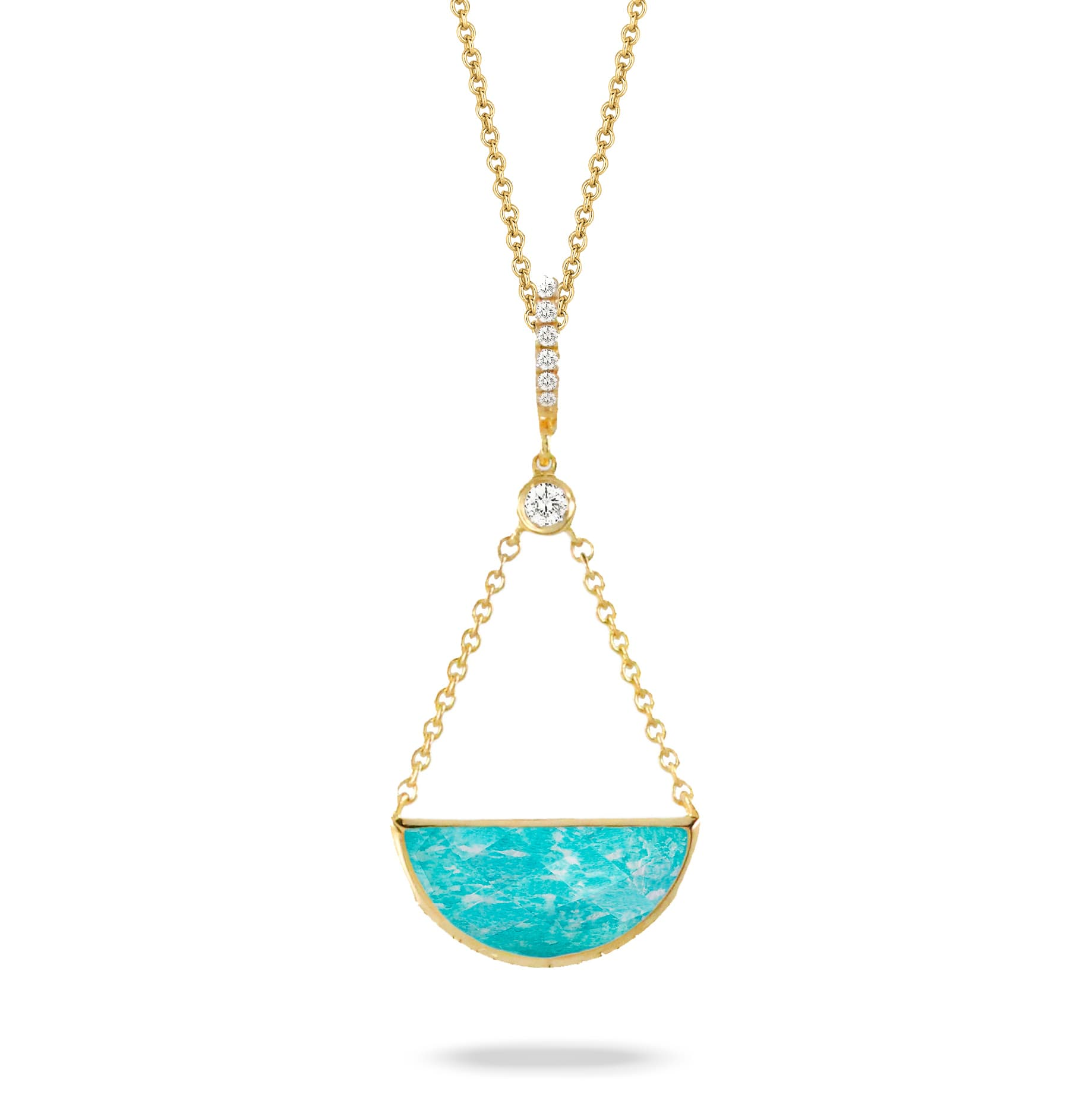 18K YELLOW GOLD DIAMOND PENDANT WITH CLEAR QUARTZ OVER AMAZONITE