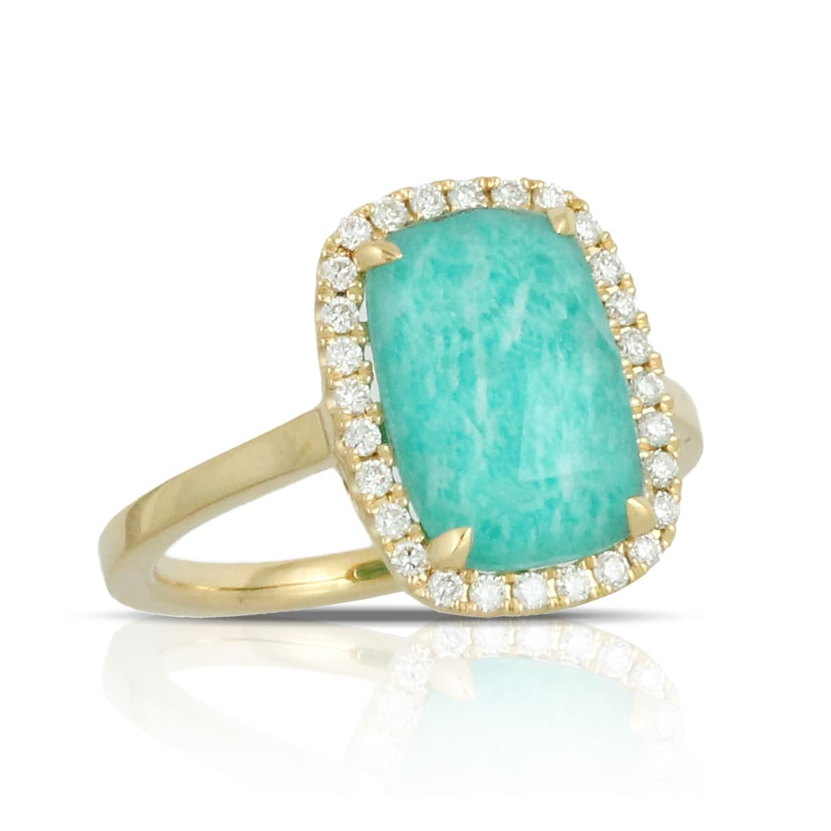 18K YELLOW GOLD DIAMOND RING WITH CLEAR QUARTZ OVER AMAZONITE. NO DIAMOND ON SHANK.