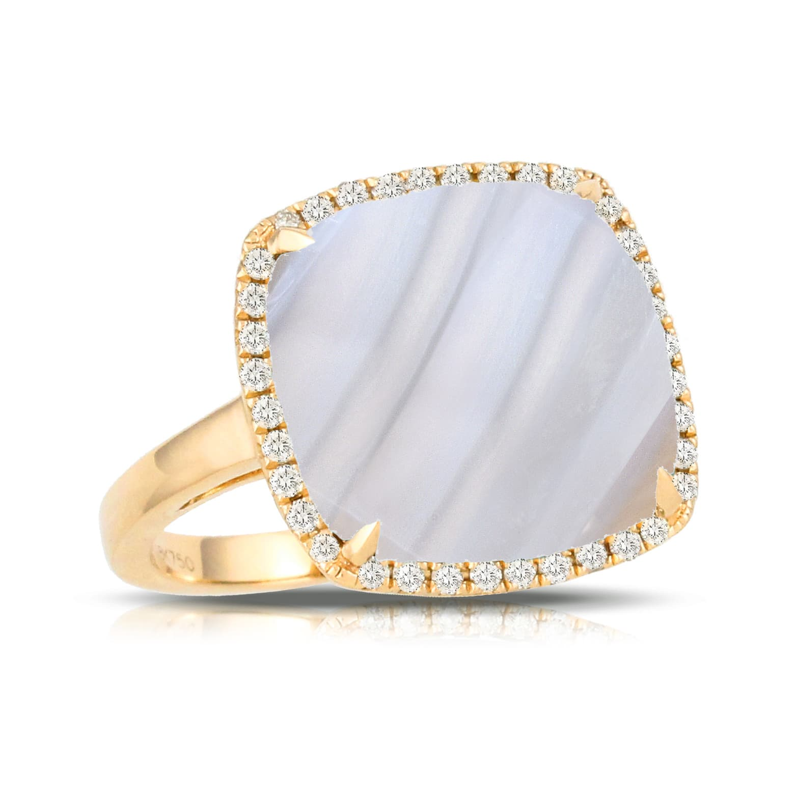 18K YELLOW GOLD DIAMOND RING WITH GREY AGATE