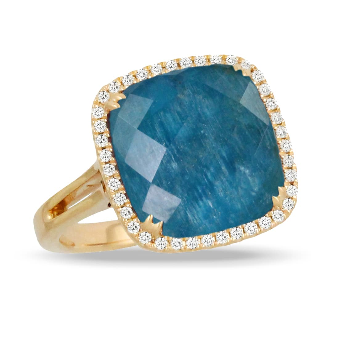 18K YELLOW GOLD DIAMOND RING WITH CLEAR QUARTZ OVER APATITE