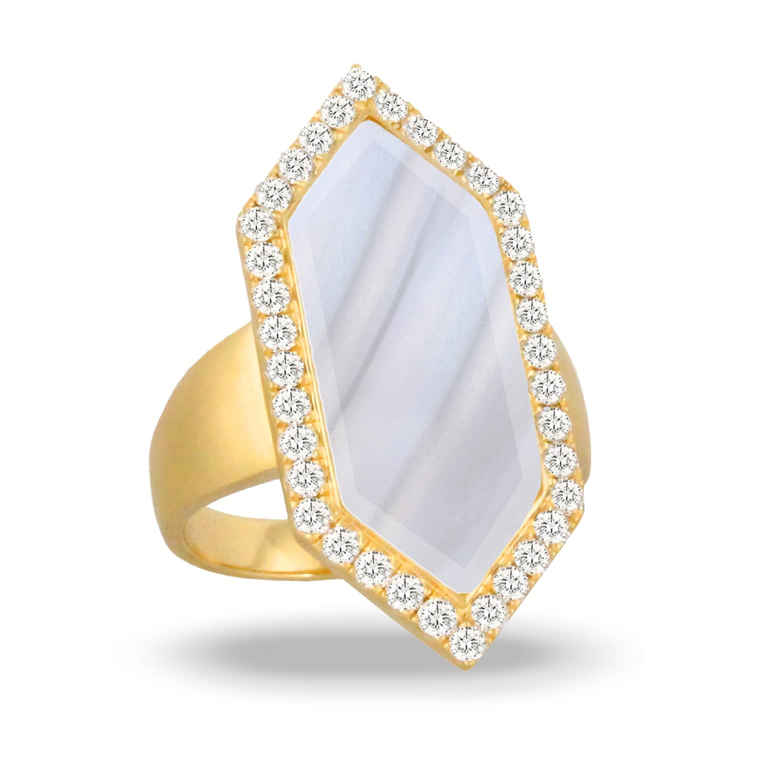 18K YELLOW GOLD DIAMOND RING WITH GREY AGATE IN SATIN FINISH