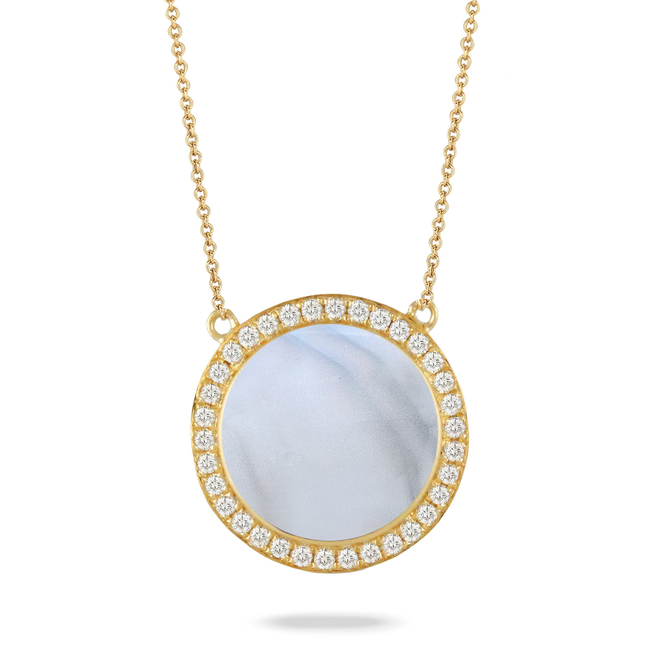 18K YELLOW GOLD DIAMOND NECKLACE WITH GREY AGATE